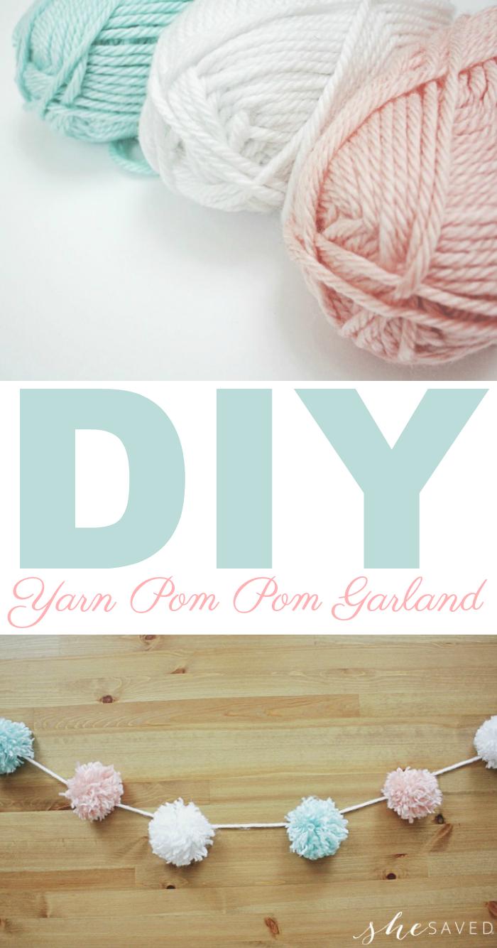 Photo of Easy DIY Party Yarn Pom Pom Garland Craft