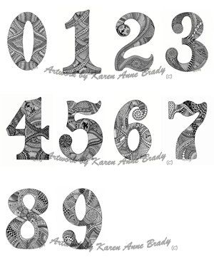 Number Set From Zero To Nine Open Edition Aceo Zentangle Inspired Authorized Art Prints By Karen Anne Br Graffiti Lettering Fonts Zentangle Zentangle Drawings