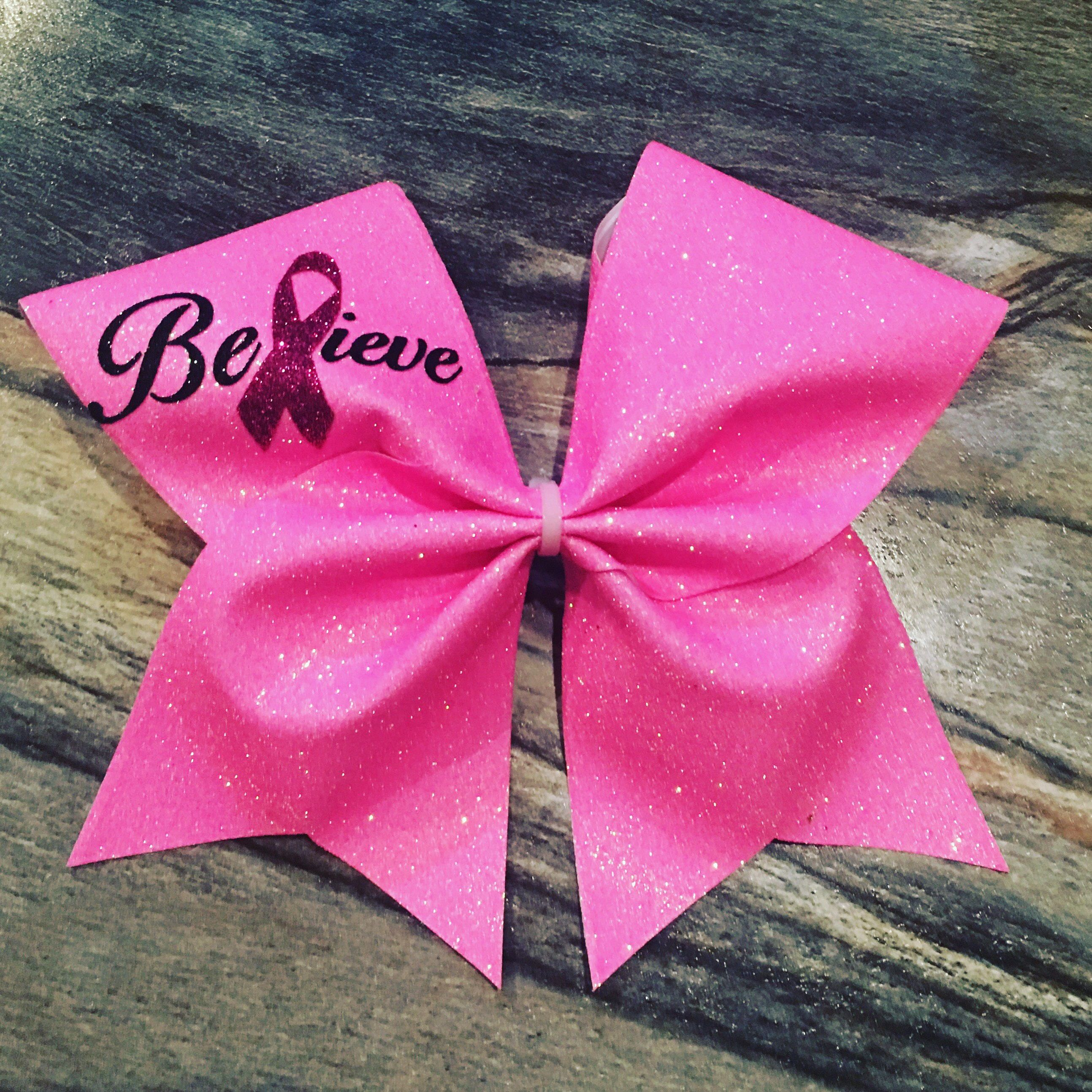 Cheer bow holder for cheer bows and hair bows cheer bow hanger - Believe Breast Cancer Awareness Cheer Bow Cheerleading Bowscheer Bowscheer Workoutscheer Bow Holdersglitter