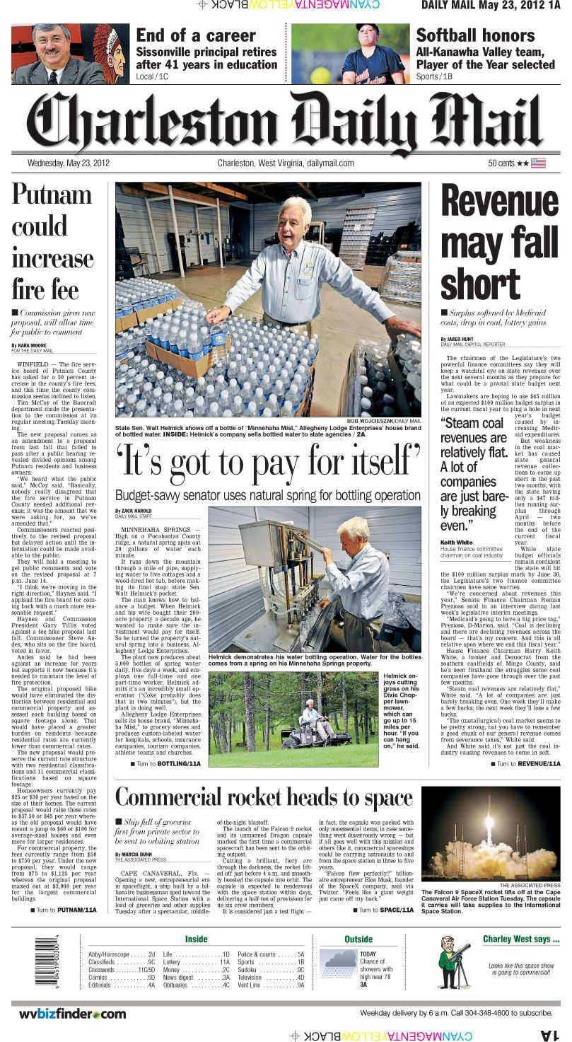 What, exactly, is a water farmer? Wednesday's front page explains in a visit agriculture commissioner candidate Walt Helmick's operations in Pocahontas County.