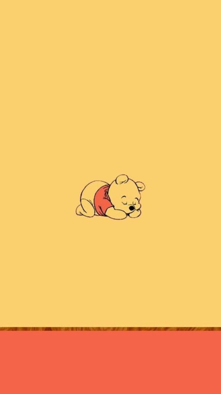 Sleeping Pooh art on honey yellow background in 2019