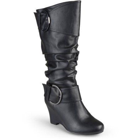 91adb362d94 Brinley Co. Womens Extra Wide Calf Buckle Tall Faux Leather Boots ...