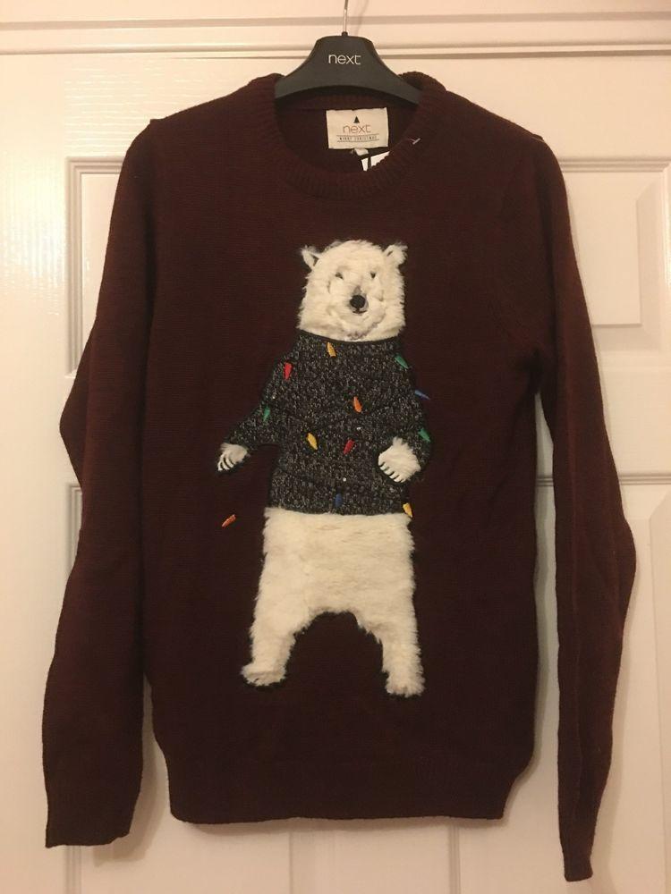 """New Mens Next Polar Bear Xmas Jumper Size X S 33 35 """" 32"""
