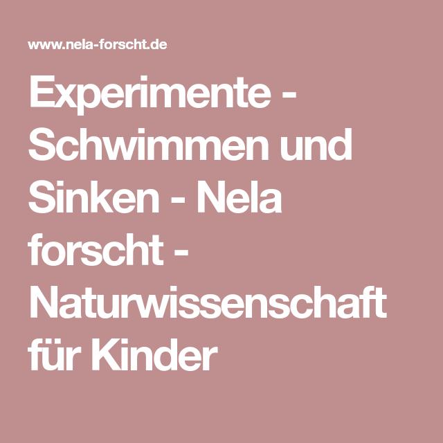 Experimente - Schwimmen und Sinken - Nela forscht ...