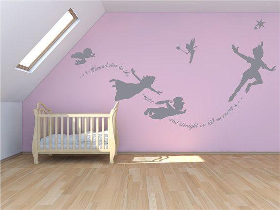 Adesivi Murali Peter Pan.Peter Pan Wall Decal Sticker Custom Mural Second By Quirkyworks33