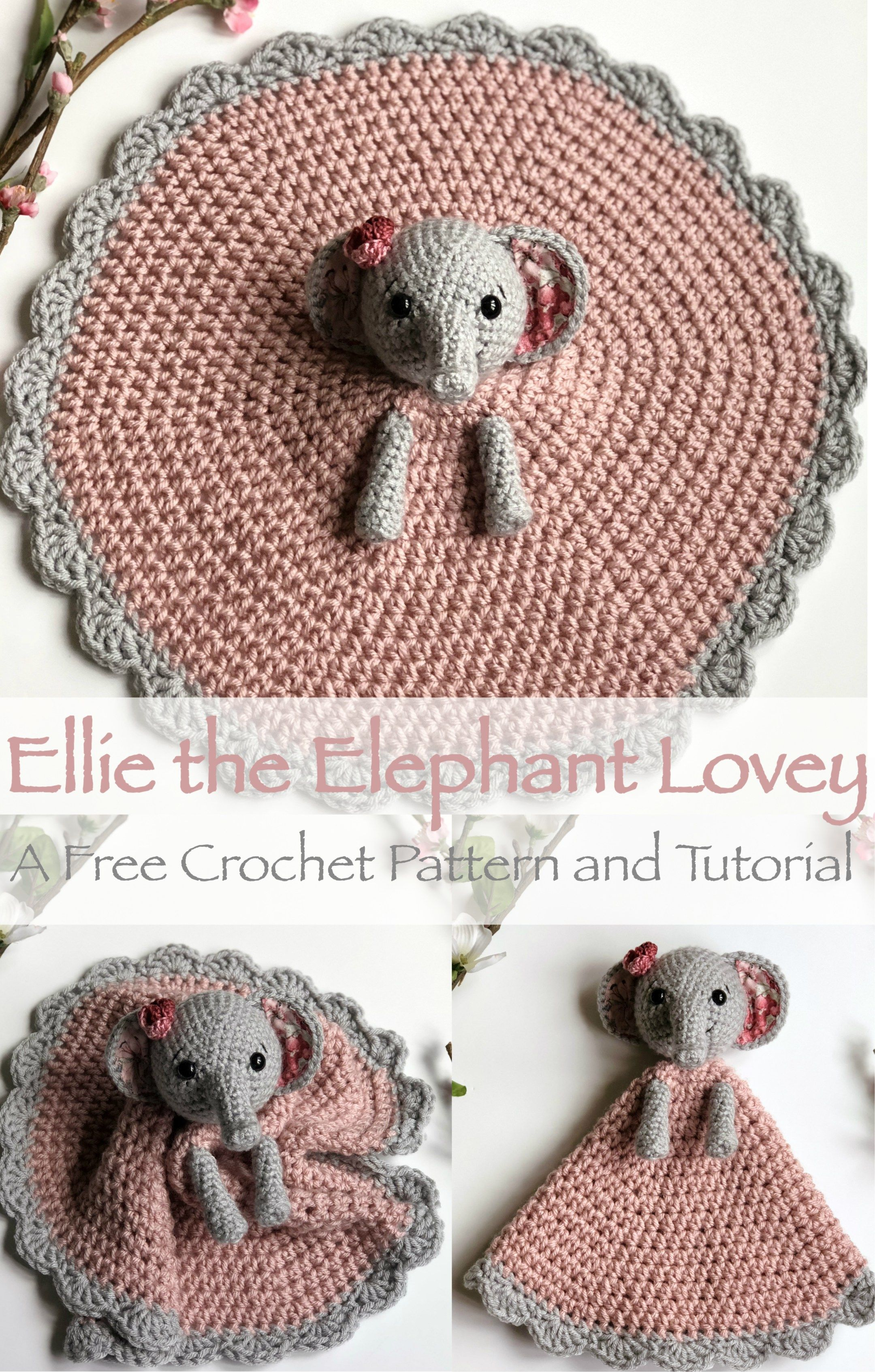 Ellie the Elephant Lovey- Free Pattern #crochetelephantpattern