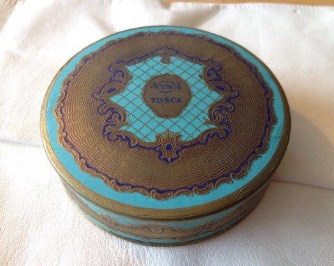 A personal favorite from my Etsy shop https://www.etsy.com/listing/183908370/sale-tosca-face-powder-boxvintage