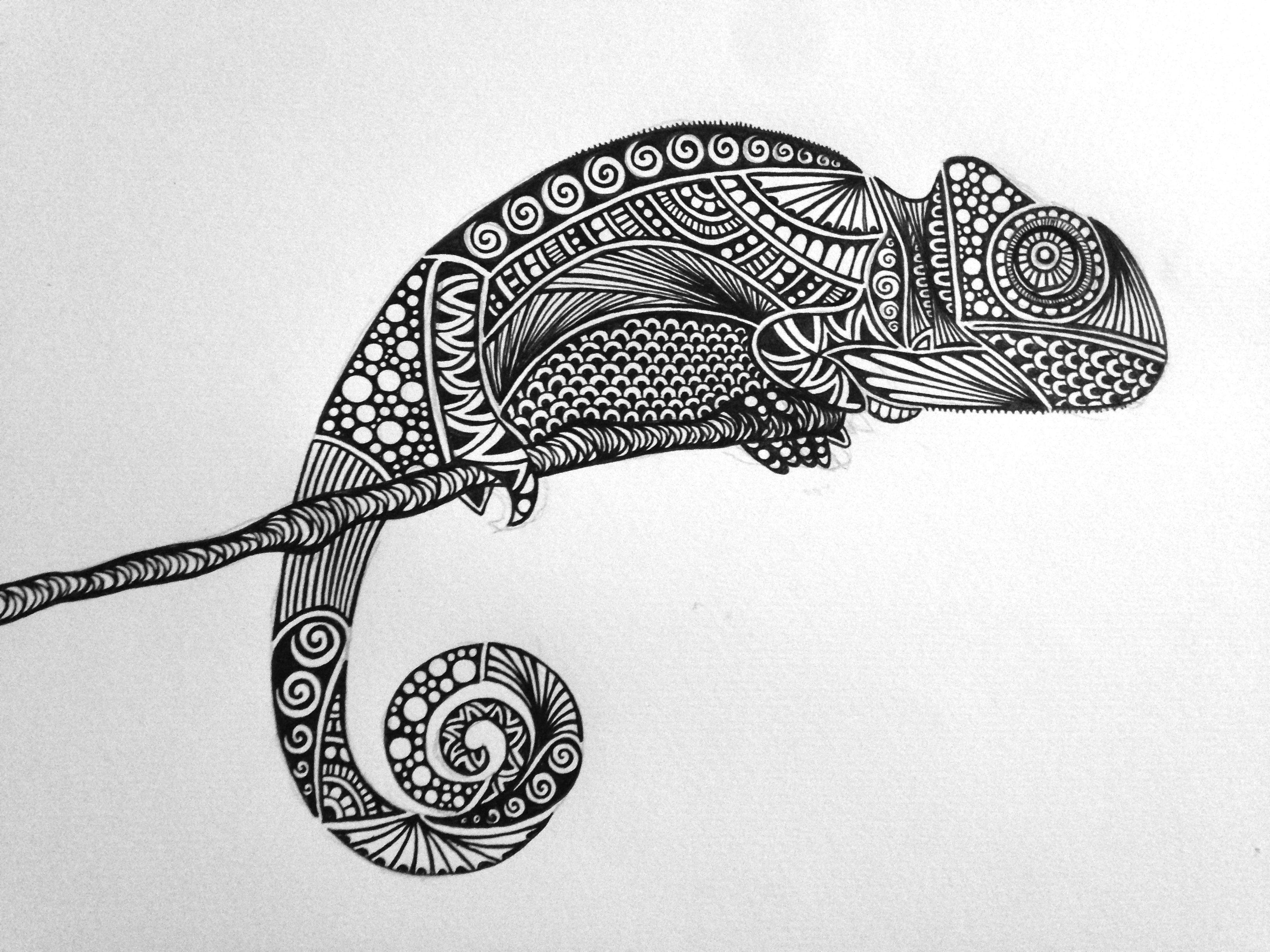 Chameleon Bnw Zentangle Zendoodle Mandala Lineart Doodleart Sharpieart Illustration Design