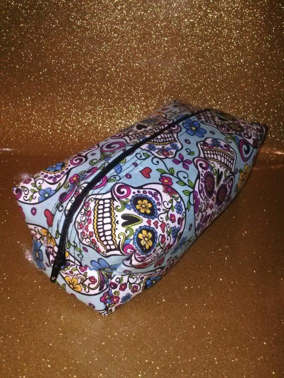 Turquoise Sugar Skull Makeup Bag By Makeupholic On Etsy