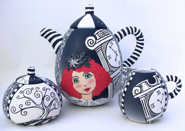 I just love this!!! Ode to Night Circus - Tea set1 by Wanda's Designs, via Flickr