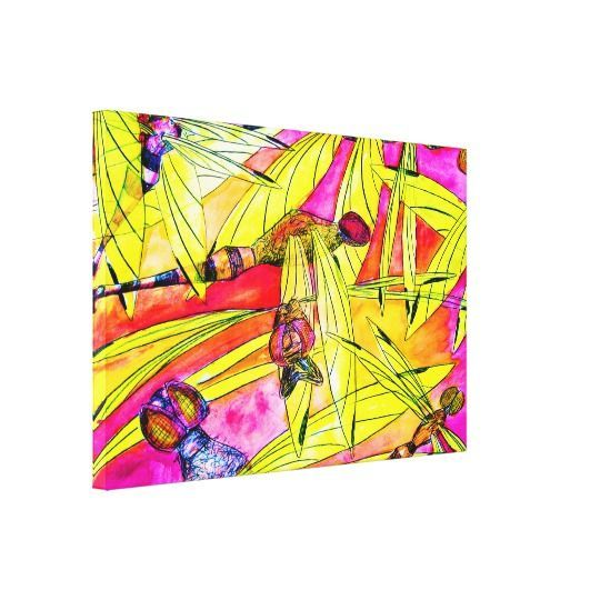 Dragonfly Flurry insect attack watercolor painting Canvas Print ...