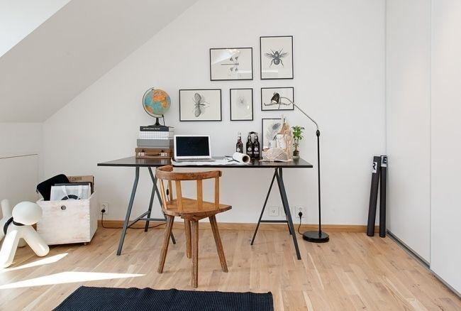 home office skandinavisch gestaltet holzboden fotowand ...