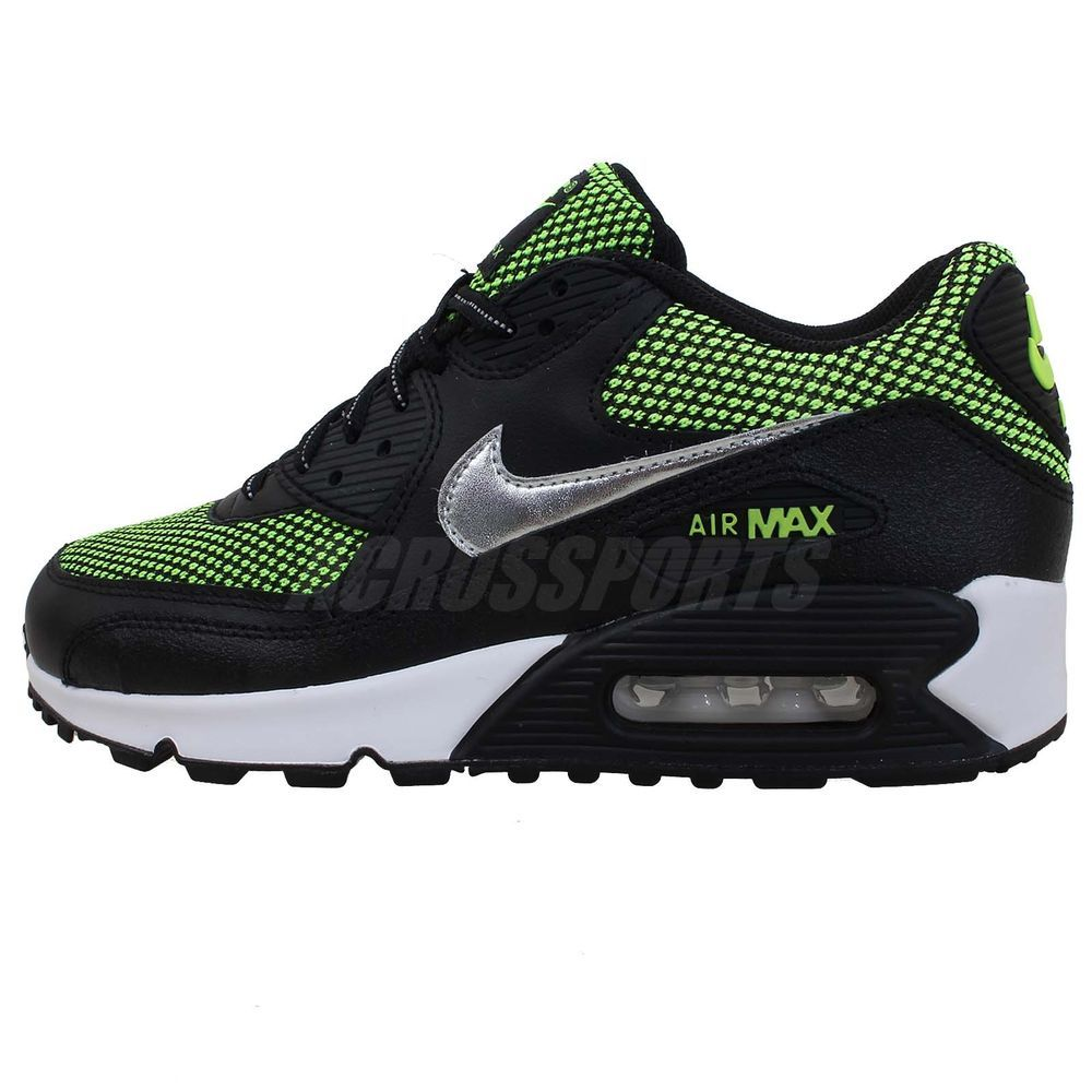 Nike Air Max 90 LE GS Black Green Silver Boys Girls Youth