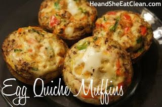 Clean Eats: Quiche Muffins - 4 minced green onions, 2 shredded carrots, 1/2 minced red bell pepper, 1/2 shredded zucchini, 14 egg whites, 4 whole eggs, 1/2 t basil, 1/4 t oregano, sea salt & pepper. Preheat oven to 375. Coat muffin tin with OO & fill 2/3 full with mixed veggies. Whisk eggs and seasonings in bowl. Pour 1/3 c egg mixture in each tin. Bake 30 minutes or until muffins are slightly browned. Muffins will keep 1 week in fridge. Can also freeze & thaw in fridge before eating.
