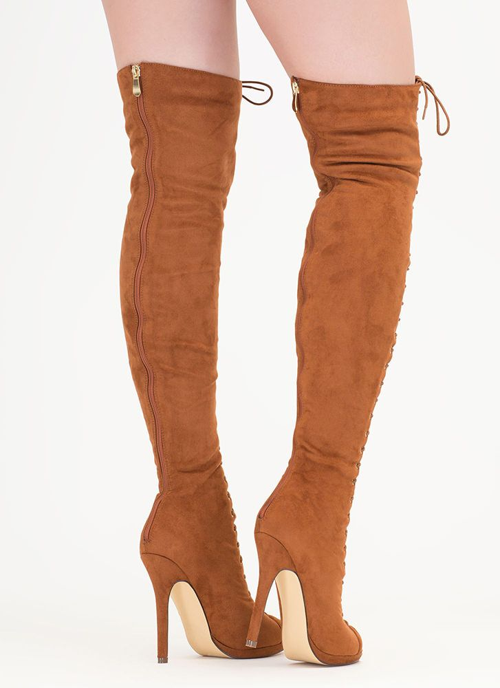 f240e81cc1b Revamp Faux Suede Over-The-Knee Boots CINNAMON