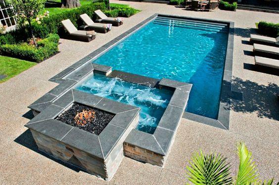 Pool und Whirlpool - Heizung mit Feuerstelle Poolscapes Pinterest
