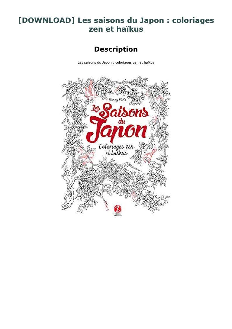 Download Les Saisons Du Japon Coloriages Zen Et Haikus In 2020 Hardcover Book Haiku Woolfolk