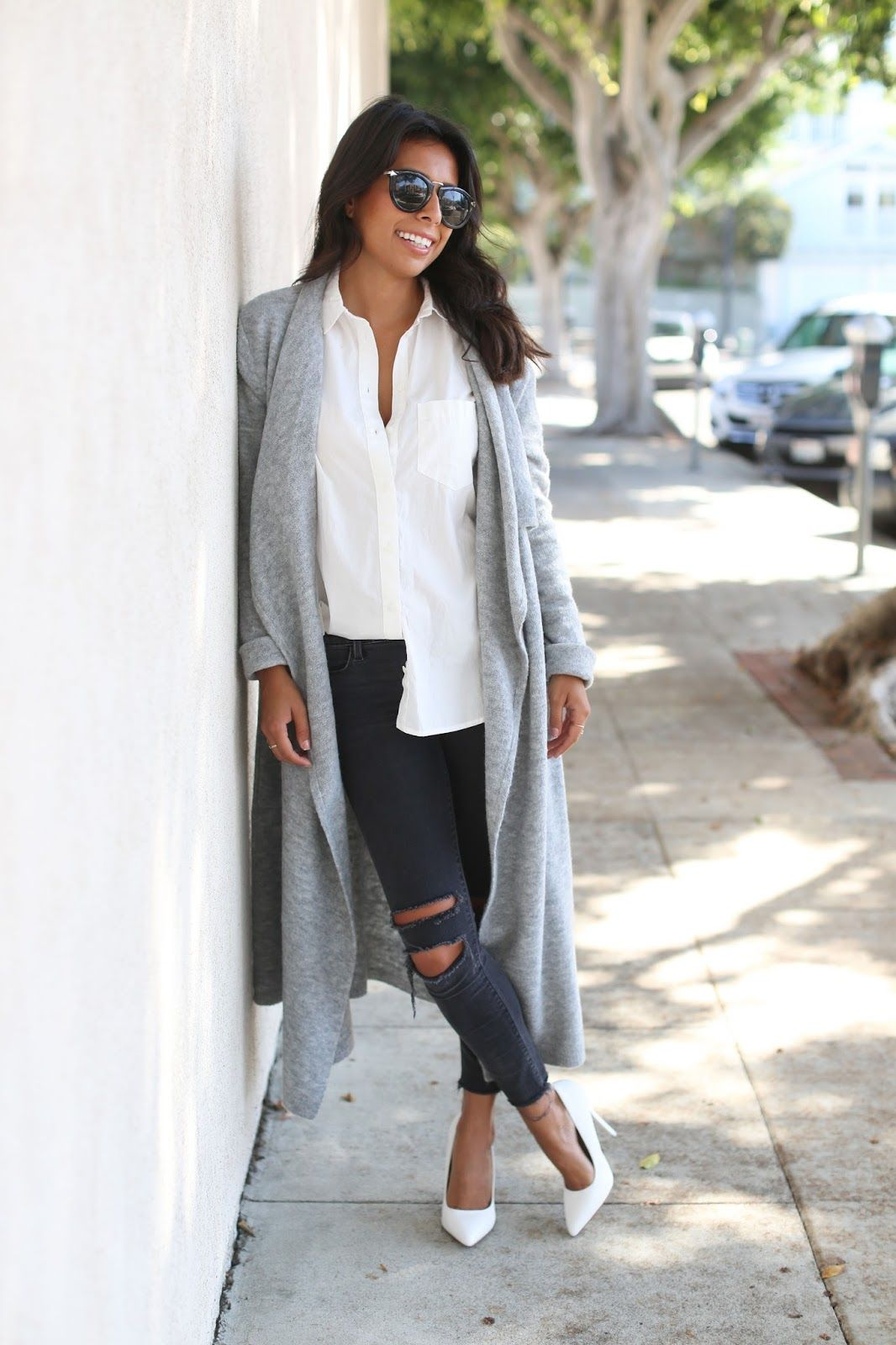 bb dakota long cardigan, how to wear long cardigan, j brand ...
