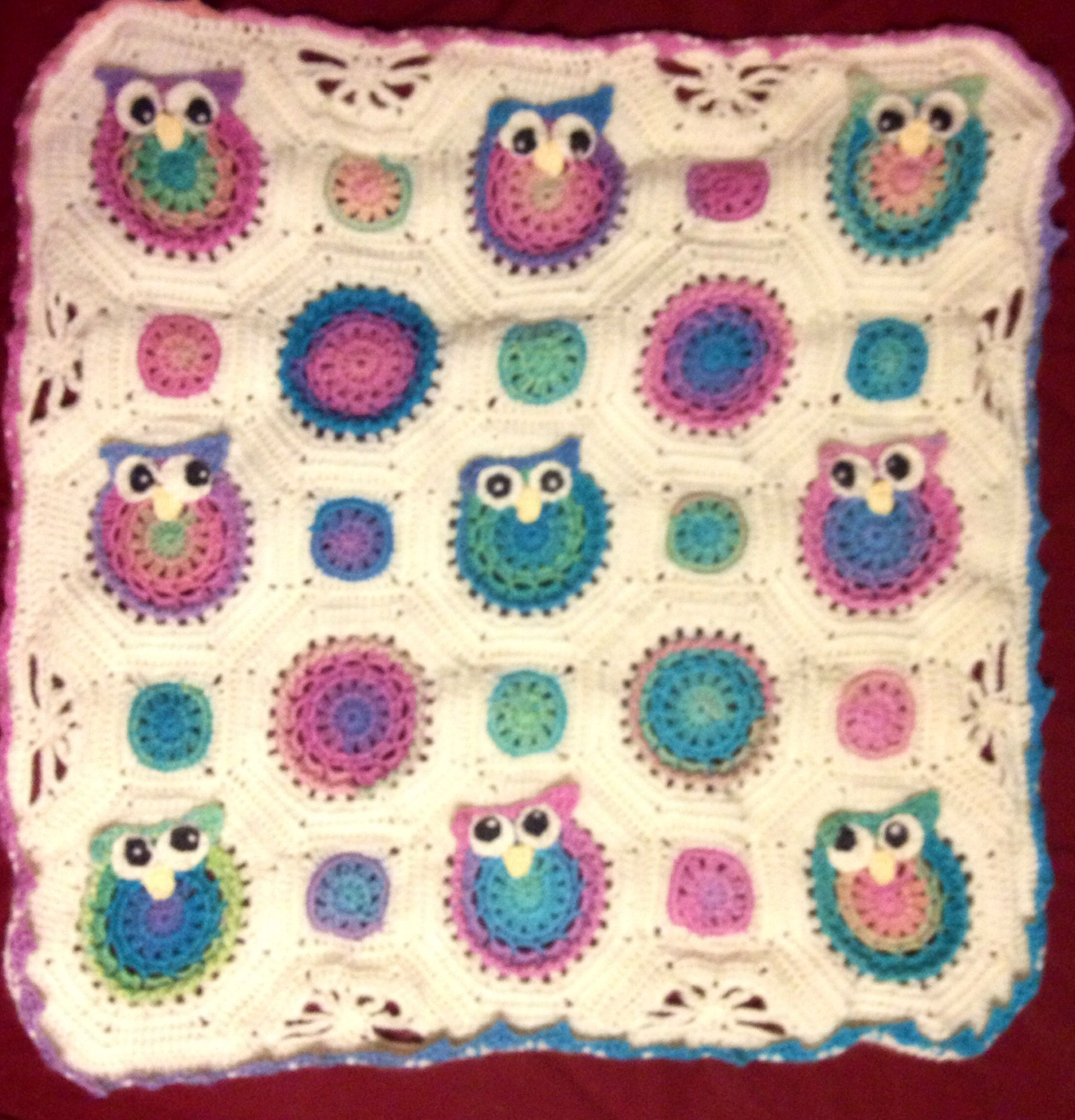 Owl crochet baby blanket crochet creations by rebecca monroe owl crochet baby blanket i would definitely use different colors the pattern is super cute though bankloansurffo Image collections