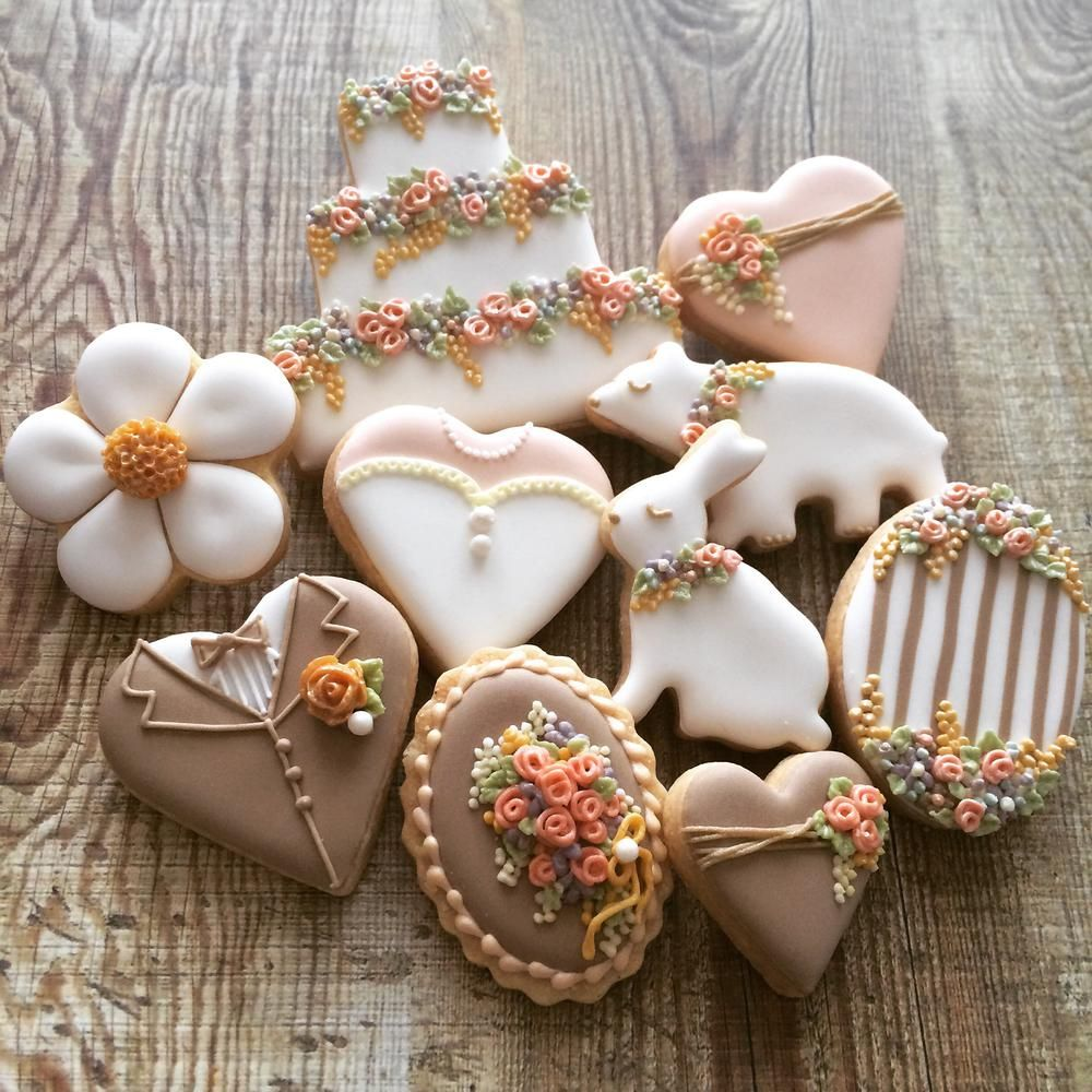 Garden wedding cookie set flowers and fruits soft brown