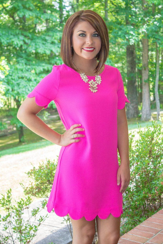 Hot Pink Dress- Scalloped Dress- Preppy Pink Dress- $38