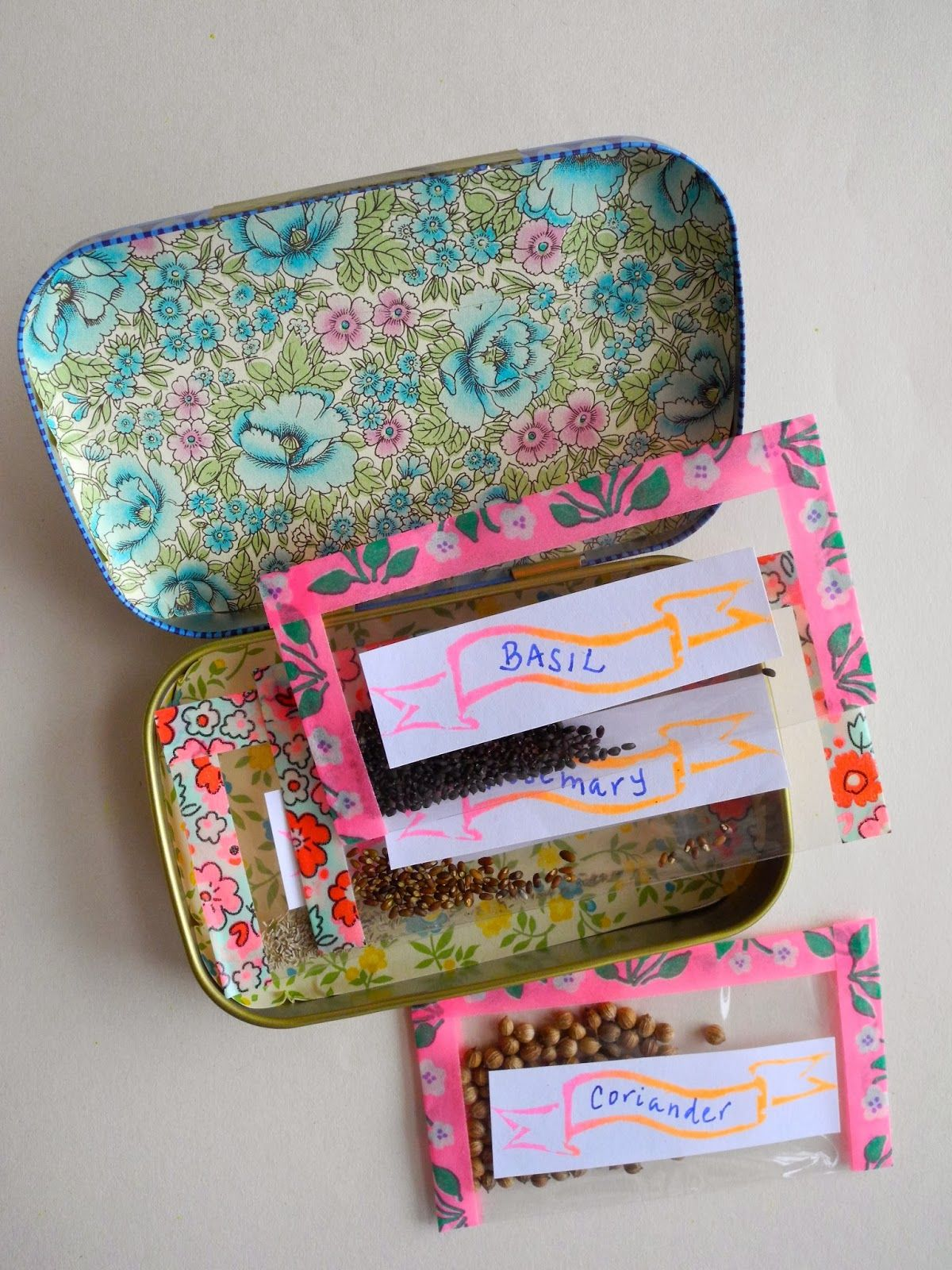 Seeds In Small Bags To Send Via Air Mail Tin Box Great Gift For