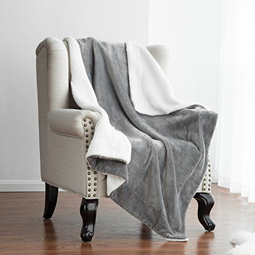 Throw Blankets For Couches Amazing Sherpa Throw Blanket Lt Grey 50X60 Reversible Fuzzy Microfiber All Review