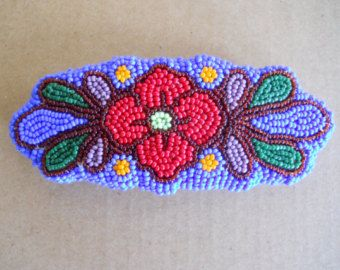 Hand Beaded Original Seed Bead Embroidery Floral Barrette