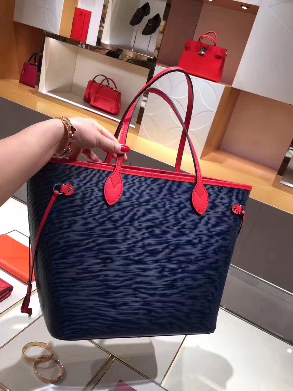 cab31adb453b Louis Vuitton Epi Neverfull MM Bag M54270 Indigo Coquelicot  louis  vuitton   neverfull