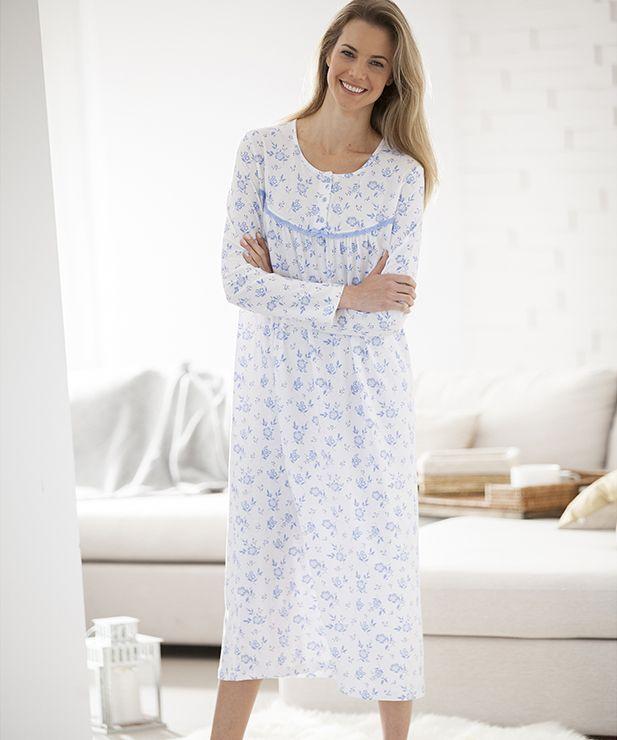 énorme réduction 9ee61 3d168 Chemise de nuit, manches longues, pur coton en 2019 | pyjama ...