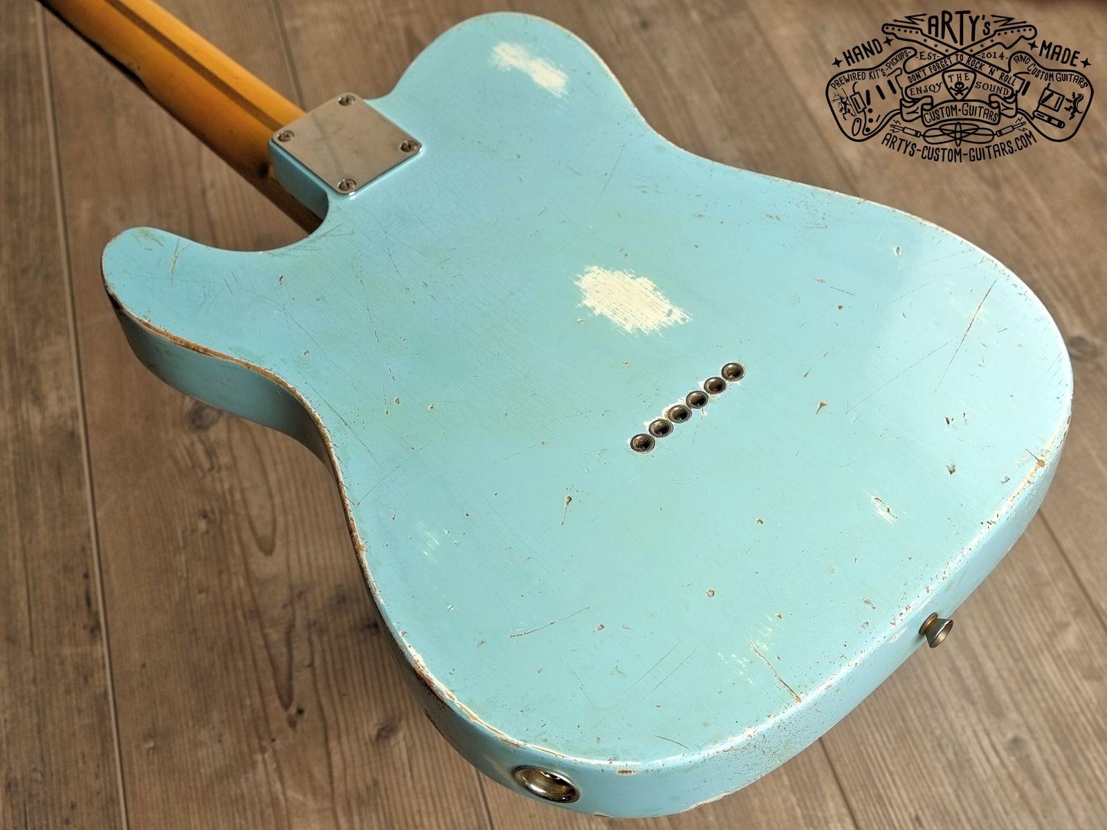 Sonic Blue relic roadworn Telecaster Warmoth Maple Neck Fender Swamp ...