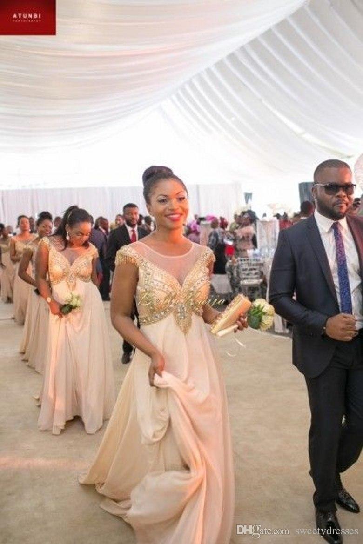 African Bridesmaid Dresses 2017 Y A Line Sheer Crew Neck Ced Sleeve Beaded Crystals Ruffles Floor