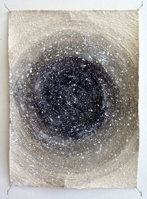 """Hein Koh: The Universe, acrylic, ink and string on canvas, 20"""" x 15"""", 2011"""