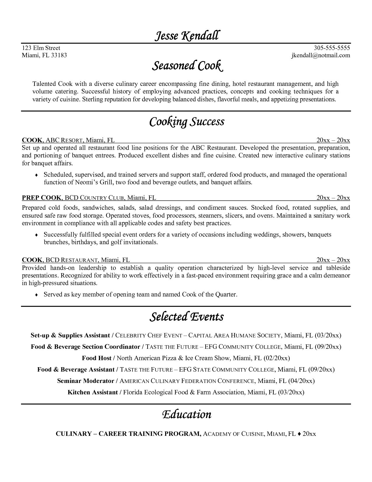Head Chef Resume Samples Hospitality Templates Free Sample Format