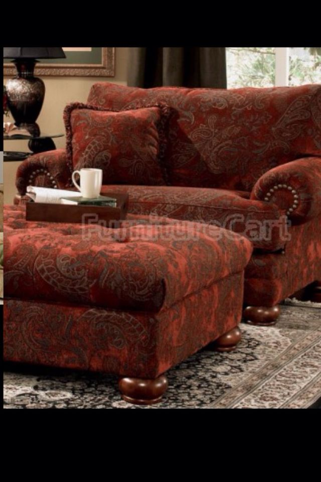 That Red Tho Ashley Furniture Chairs Chair And Ottoman Overstuffed Chairs #overstuffed #living #room #sets
