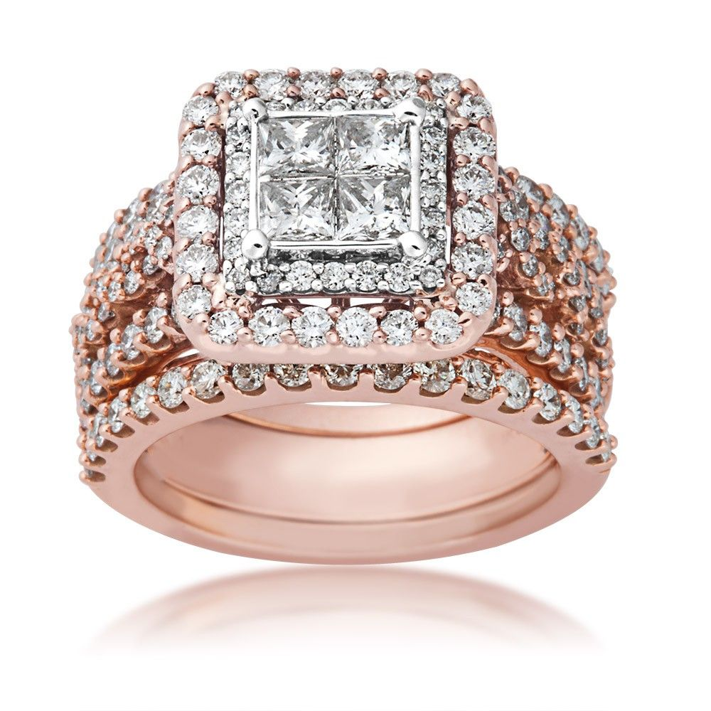 Ladies Quad Diamond 3 Piece Wedding Set In 14 Kt Pink Gold Bridal Pink Engagement Ring Diamond Wedding Sets Halo Wedding Set