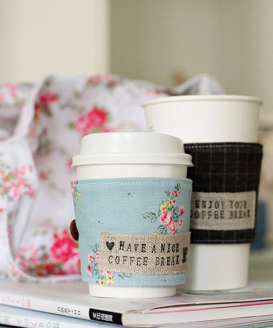 coffee cup cozy | Costura, Vasos y Vaso de cafe
