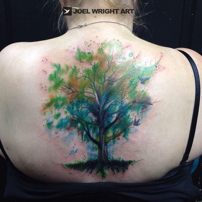Green tree of life watercolor tattoo joel wright art for Tree of life watercolor tattoo