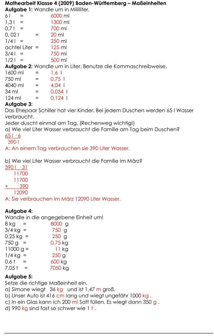 Klassenarbeit zu Größen und Maßeinheiten | Bastelanleitungen ...