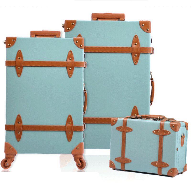 Fashion Women Travel Suitcase PU Leather Vintage Luggage Set ...