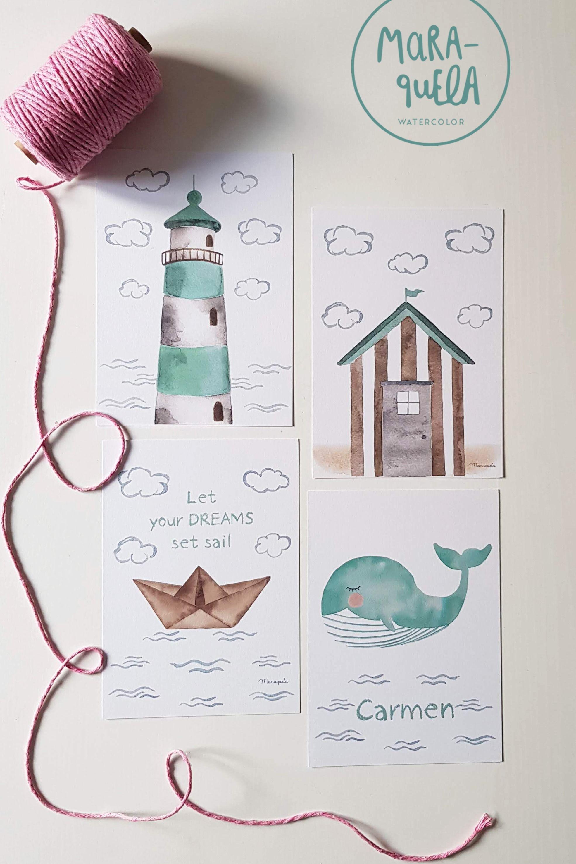 Photo of Set Verde Mint y Beige – FARO, barco de papel, ballena y casa de playa