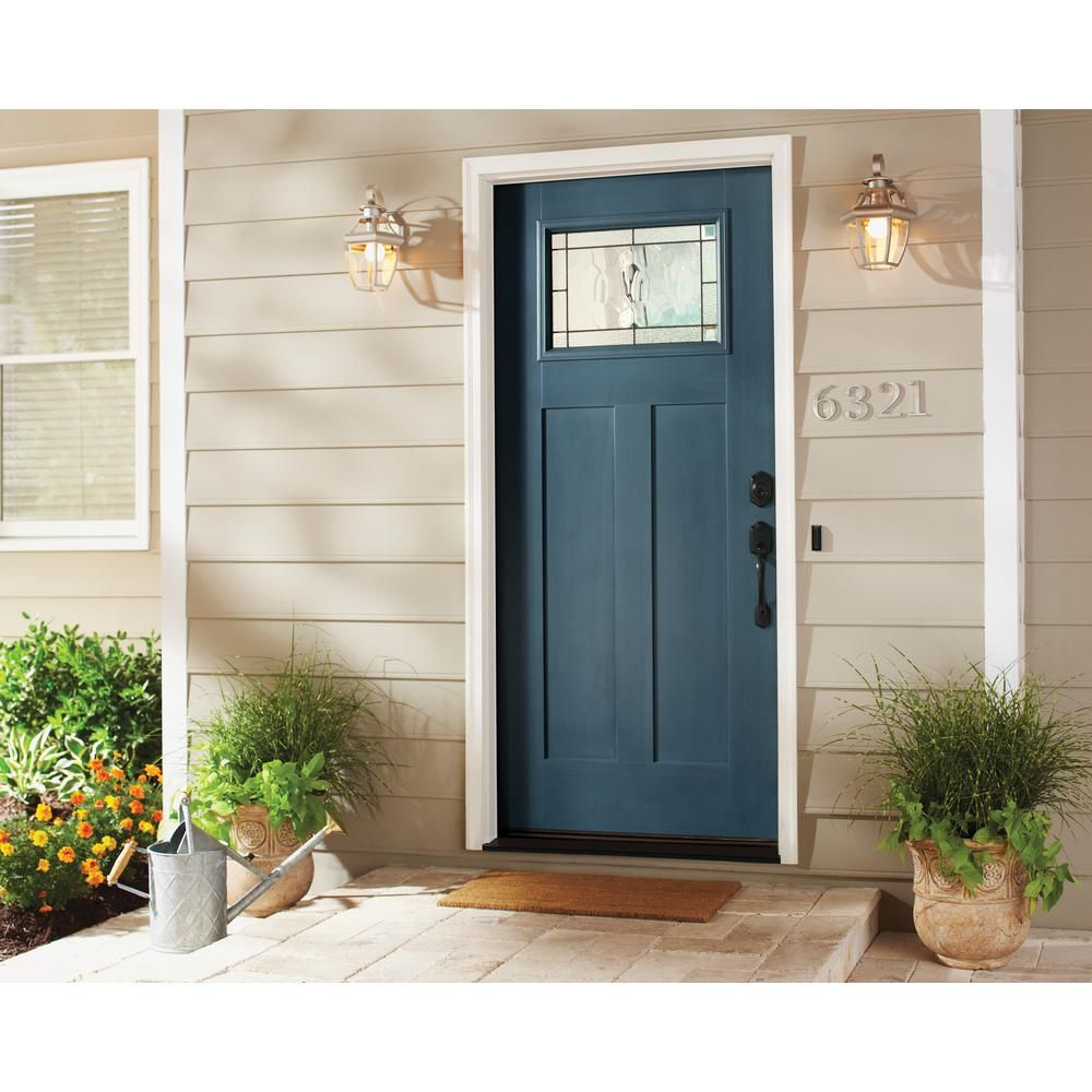 Jeld Wen 36 In X 80 In 1 Lite Craftsman Wendover Denim Stained Fiberglass Prehung Right Hand Inswing Front Door W Brickmould Thdqc232700108 The Home Depot Stained Front Door Exterior Door Colors Painted Front