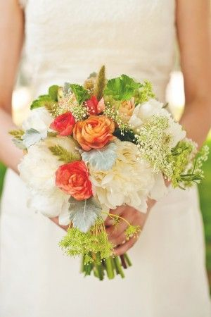 natural white & coral bouquet -- very pretty