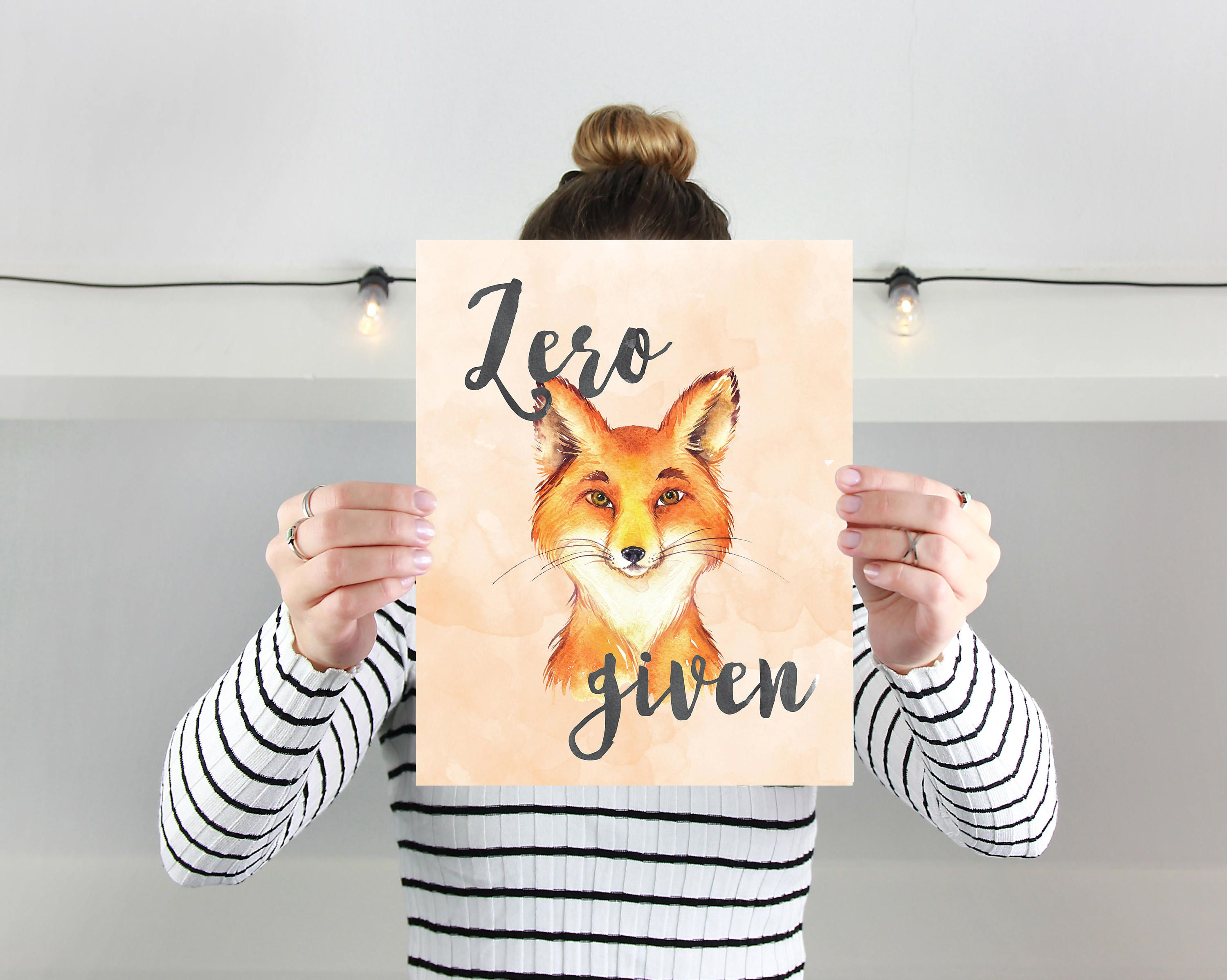 Funny Quote Wall Art   Zero Fox Given   Quirky Art Print   Humorous Quote