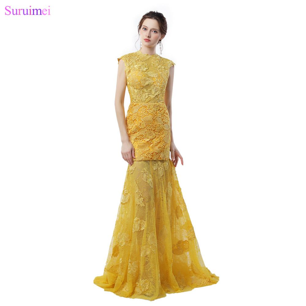 Exquisite golden evening dresses with cap sleeves leaf shape lace