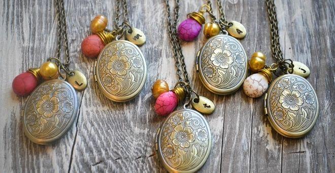 Antique Bronze Locket with Gemstone—BLOWOUT price!