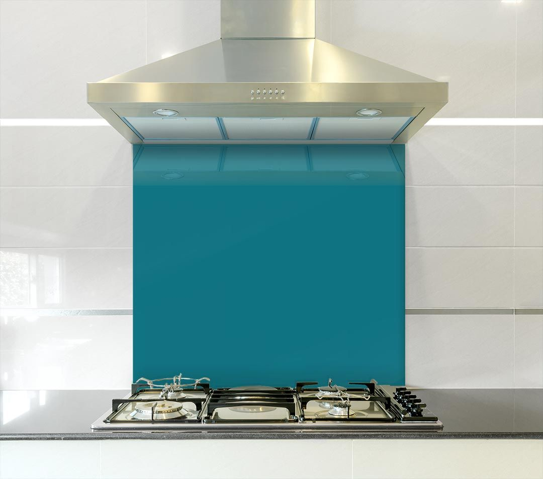 Teal Touch 900mm x 750mm Coloured Kitchen Toughened Glass Splashback ...
