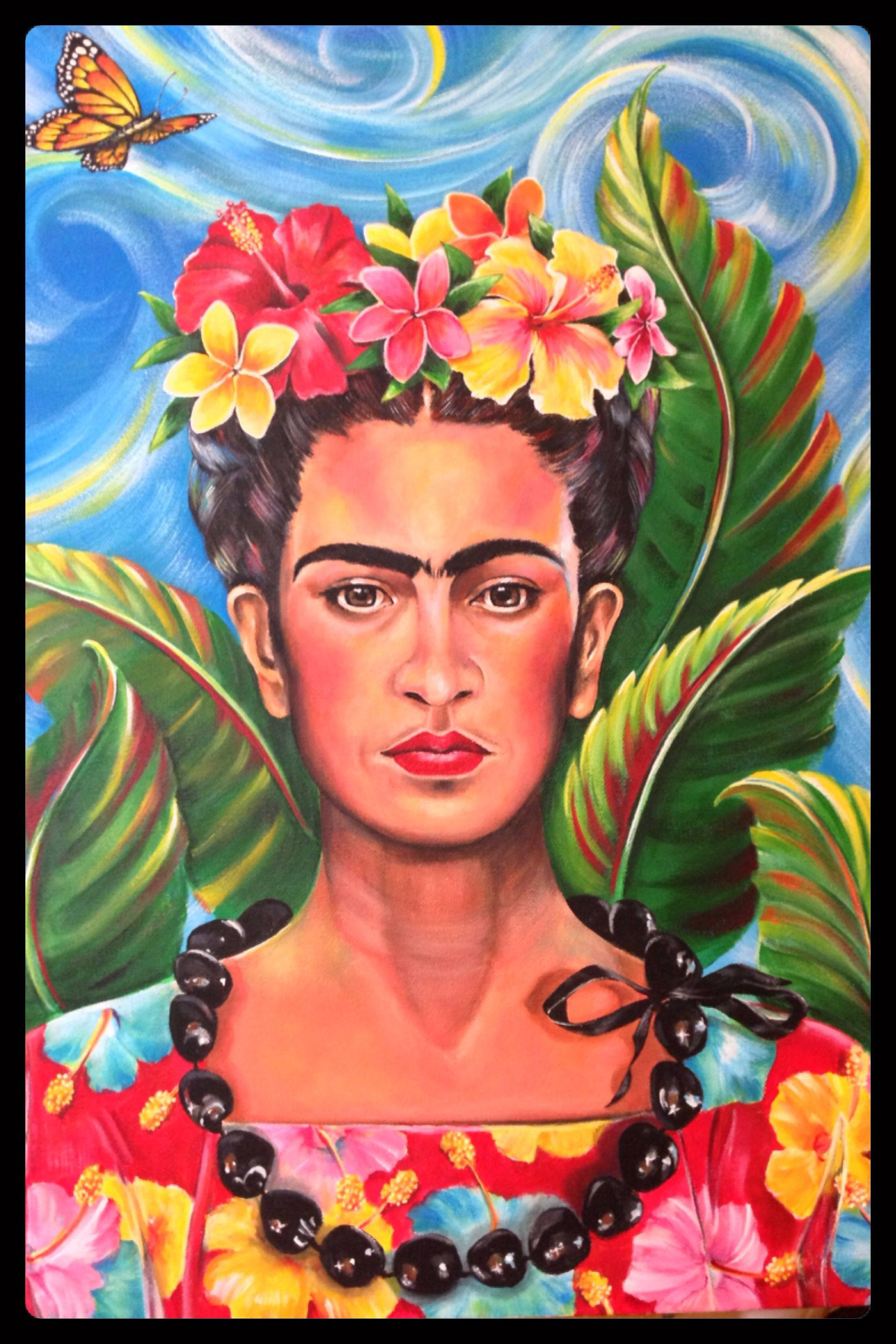 Quot Frida Hawaiiana Quot Acrylic In 2019 Frida Kahlo Painting