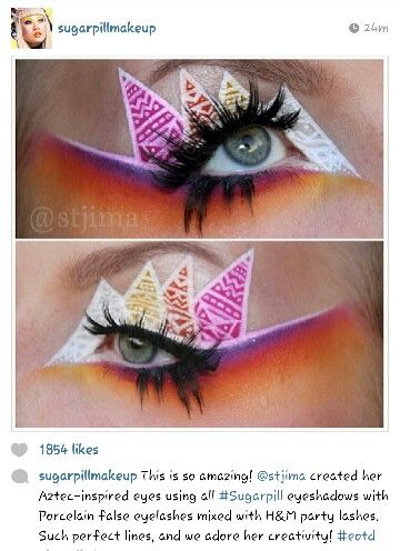 Great color use and blending using #sugarpill eyeshadows by #stjima