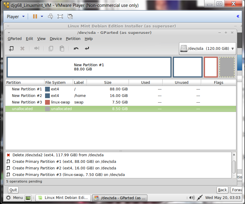 16 Click Accept changes to disk  (On Linuxmint Debian click